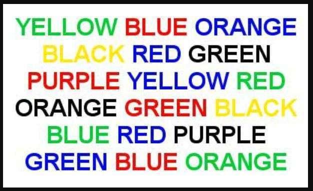 Left brain right brain balance - colour word test